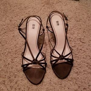 BP brown satin heels
